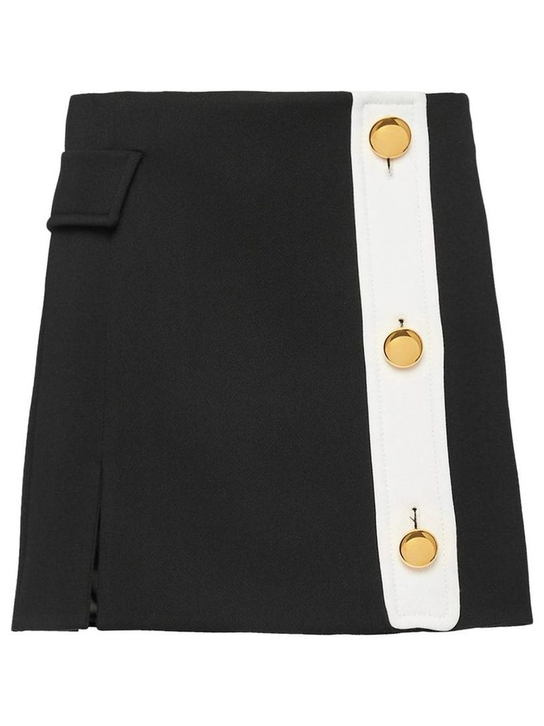 Prada basketweave gabardine wrap-around skirt - Black