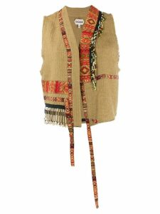 Giacobino embroidered cropped waistcoat - Brown