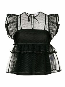 Red Valentino ruffled tulle top - Black