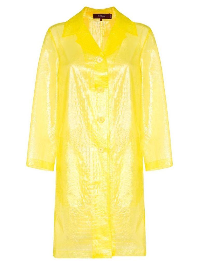 Sies Marjan croc-effect sheer coat - Yellow