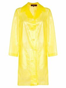 Sies Marjan croc-effect sheer coat - Yellow