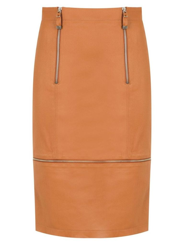 Tufi Duek zipped leather skirt - Brown