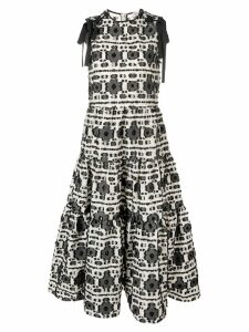 Red Valentino fringed floral print dress - Neutrals