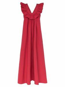 Three Graces Geraldine ruffle neck maxi dress - Red