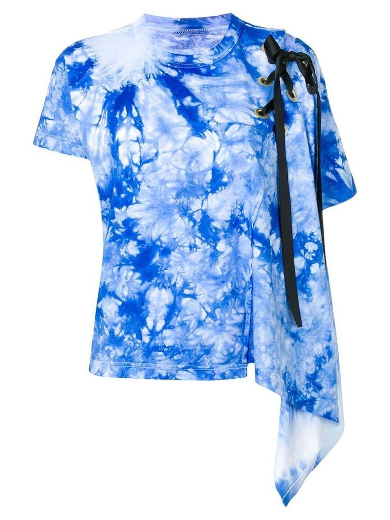 Sacai draped tie dye T-shirt - Blue