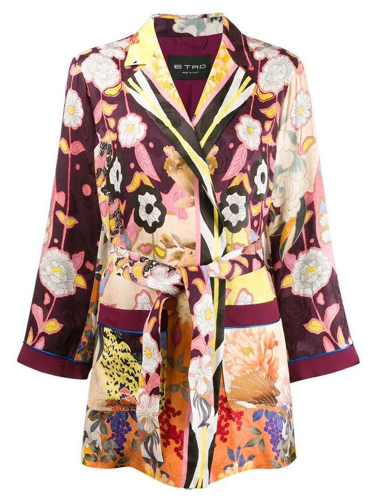 Etro belted jacquard jacket - Purple