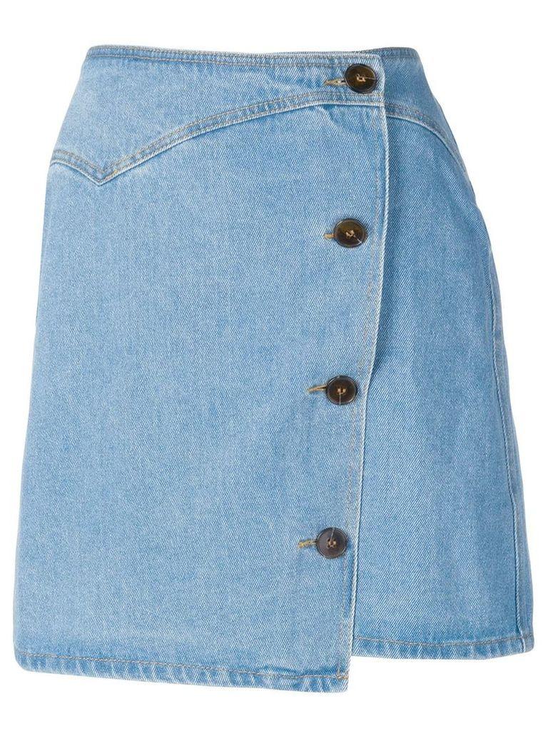 Nanushka Amita 80's wash denim skirt - Blue