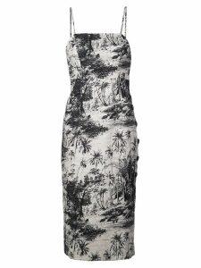 Shona Joy botanical fitted midi dress - Black