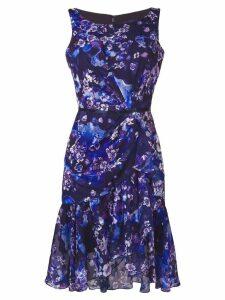 Marchesa Notte floral chiffon cocktail dress - Purple