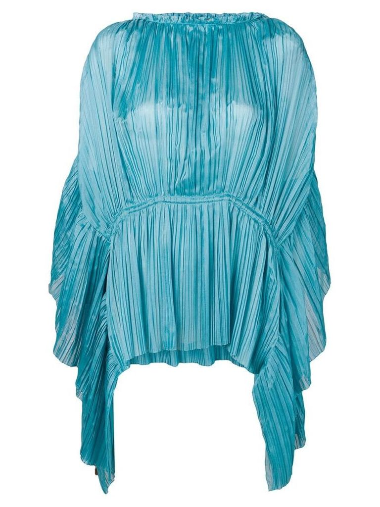 Alberta Ferretti pleated asymmetric top - Blue