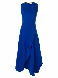 Victoria Beckham asymmetric ruffle fitted dress - Blue