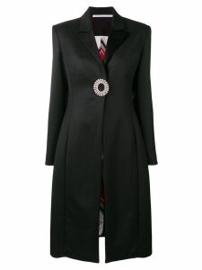 Peter Do crystal brooch overcoat - Black