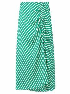 Steffen Schraut ruched striped skirt - Green