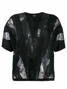 Giambattista Valli lace insert knit top - Black