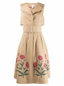 Oscar de la Renta poppy print belted dress - Neutrals