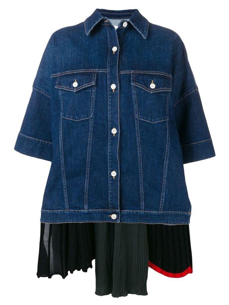 Sonia Rykiel denim shirt jacket with back layer - Blue