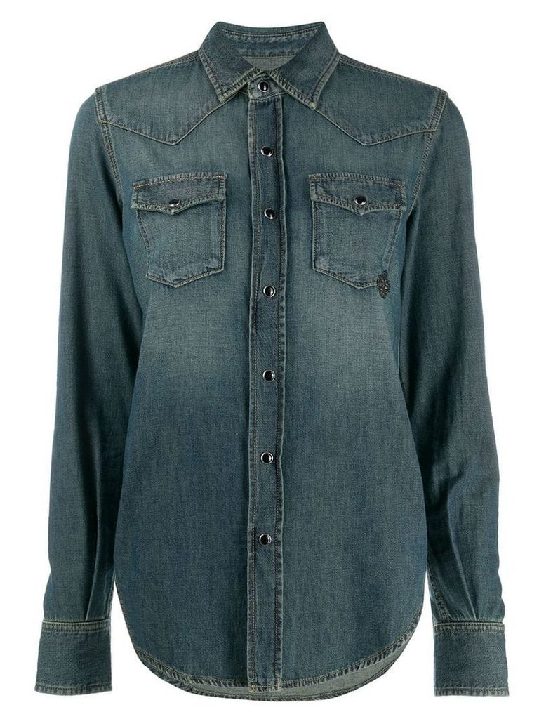 Saint Laurent bead embellished detail denim shirt - Blue