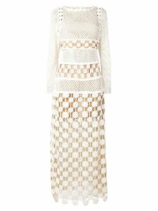 Self-Portrait crochet-lace maxi dress - White
