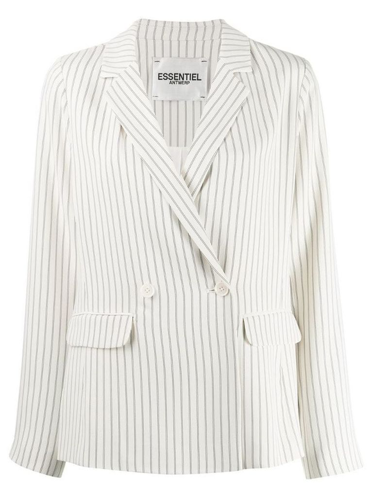 Essentiel Antwerp striped double breasted blazer - White