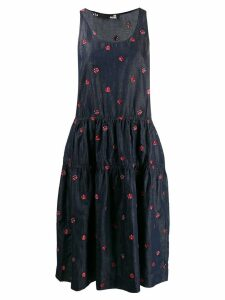 Love Moschino Ladybird embroidered denim midi dress - Blue