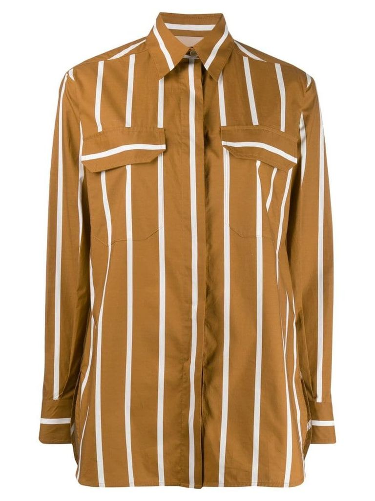 Erika Cavallini loose-fit striped shirt - Brown