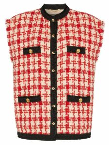 Gucci sleeveless button-down tweed jacket - Neutrals