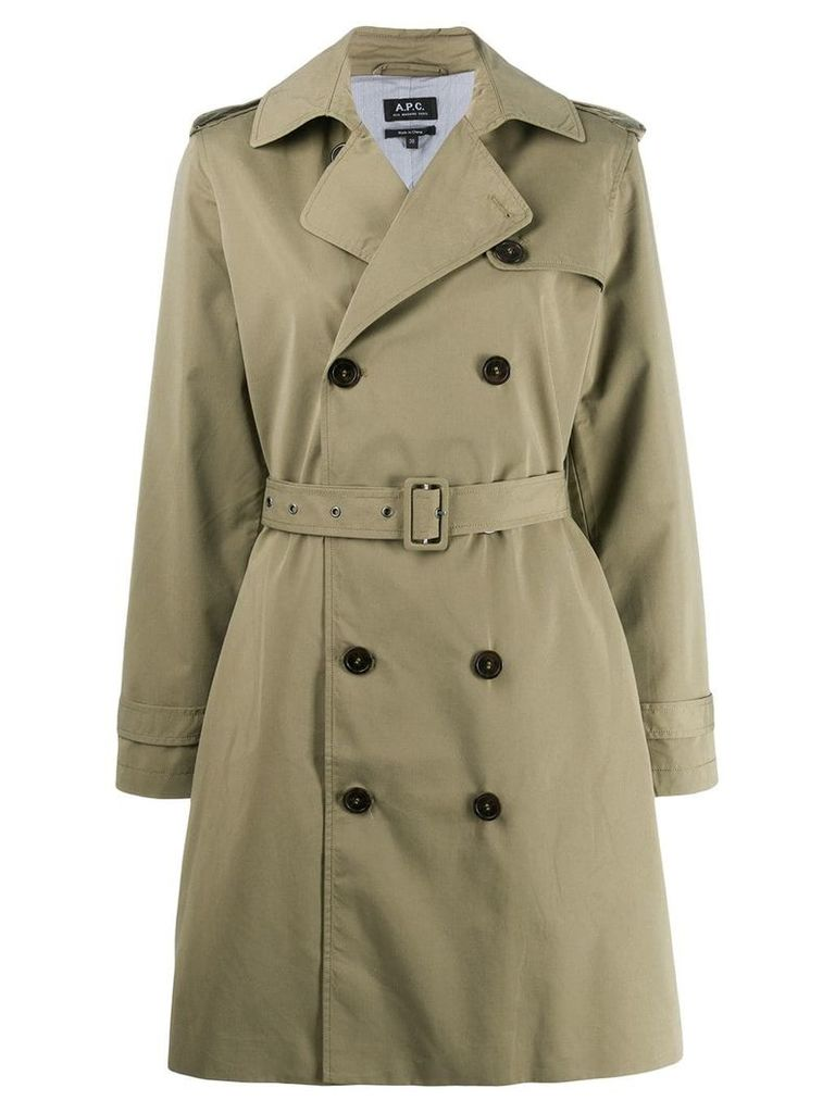A.P.C. belted trench coat - Green