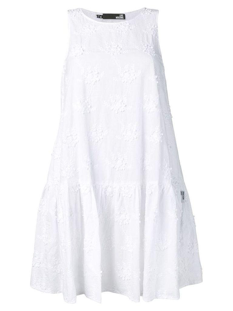 Love Moschino embroidered shift dress - White