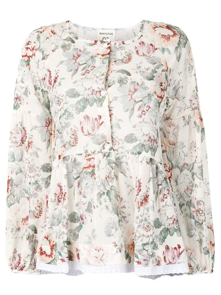 Semicouture Note floral shirt - White