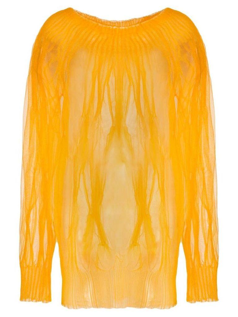 Poiret sheer knit blouse - Orange