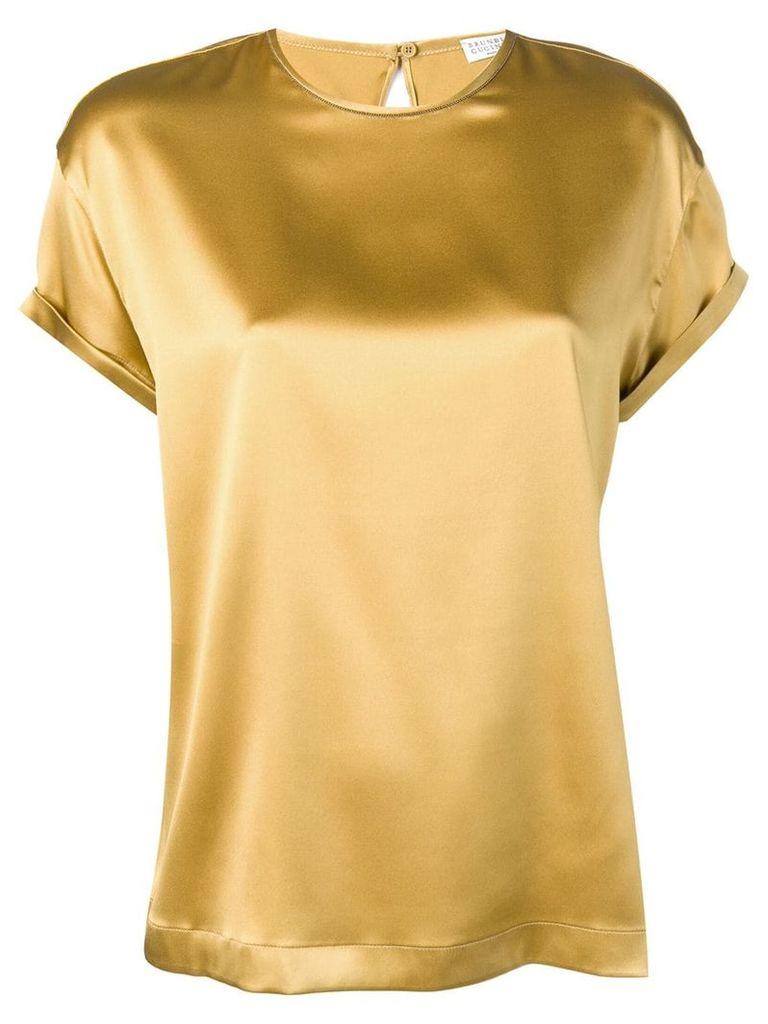 Brunello Cucinelli round-neck blouse - Gold