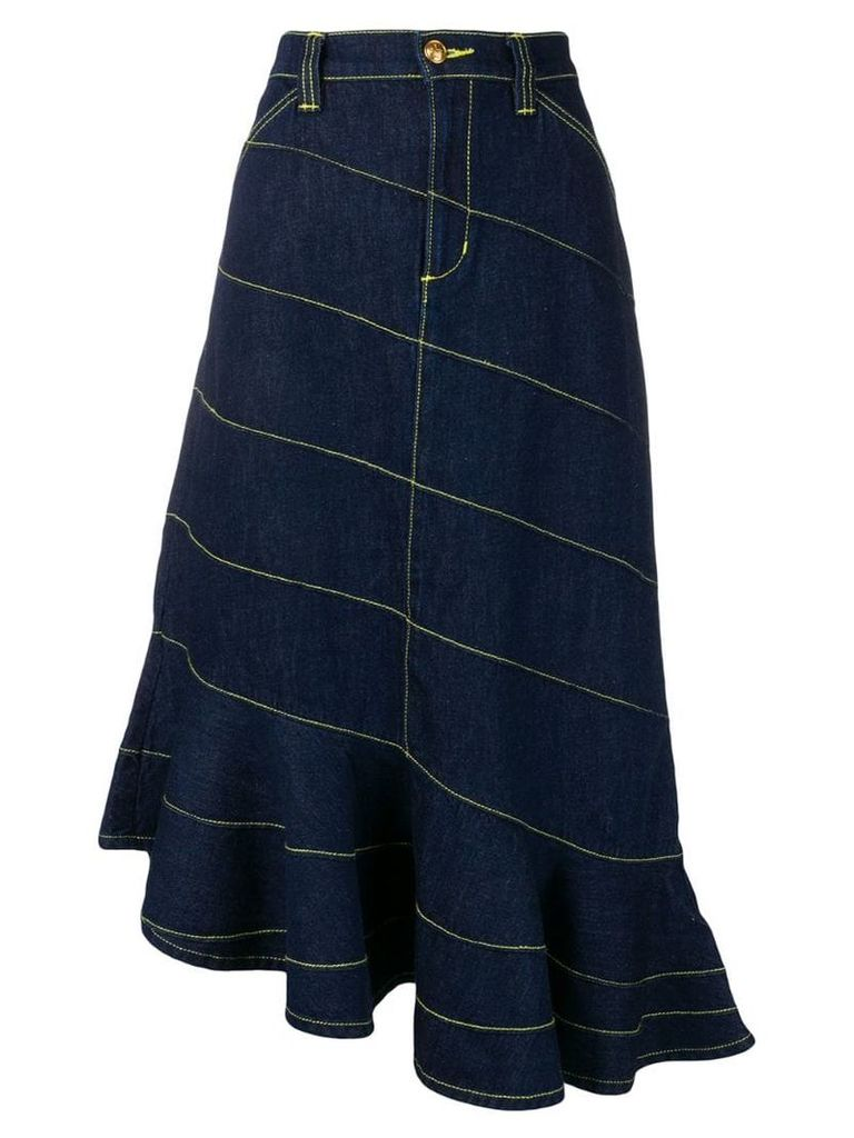Tory Burch contrast stitching asymmetric skirt - Blue