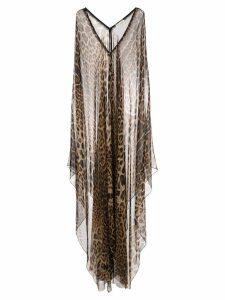 Saint Laurent leopard print poncho dress - Brown