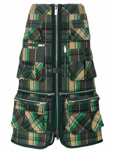 Sacai checked cargo skirt - Green