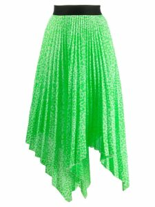 Nude patterned pleated skirt - Green