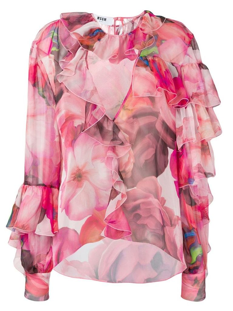 MSGM floral ruffled blouse - Pink