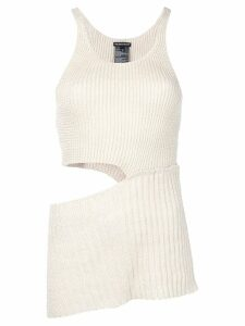 Ann Demeulemeester cut out ribbed knit top - Neutrals