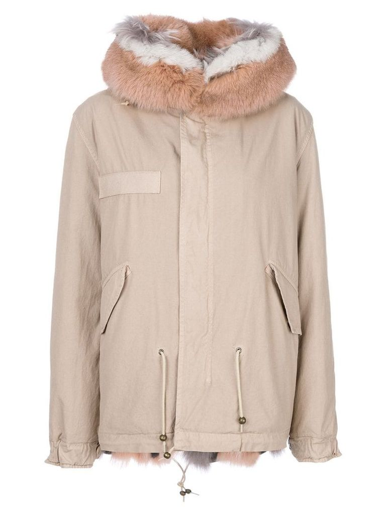Mr & Mrs Italy trimmed hood short parka - Neutrals