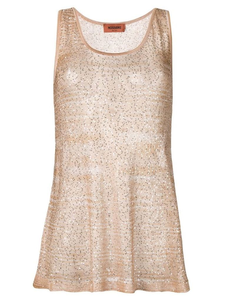 Missoni sequin embroidered tank top - Neutrals