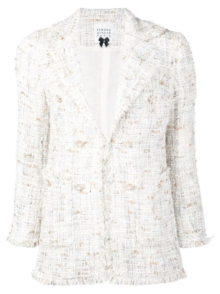 Edward Achour Paris fitted tweed blazer - White