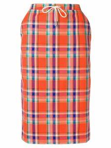 Essentiel Antwerp plaid pencil skirt - Orange
