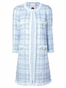 Edward Achour Paris long tweed coat - Blue