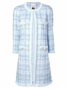 Edward Achour Paris long tweed coat - Blue