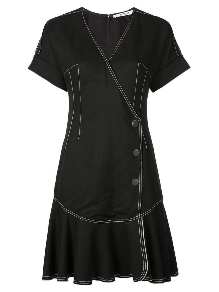 Derek Lam 10 Crosby Short Sleeve Wrap Dress with Pleated Hem - Black