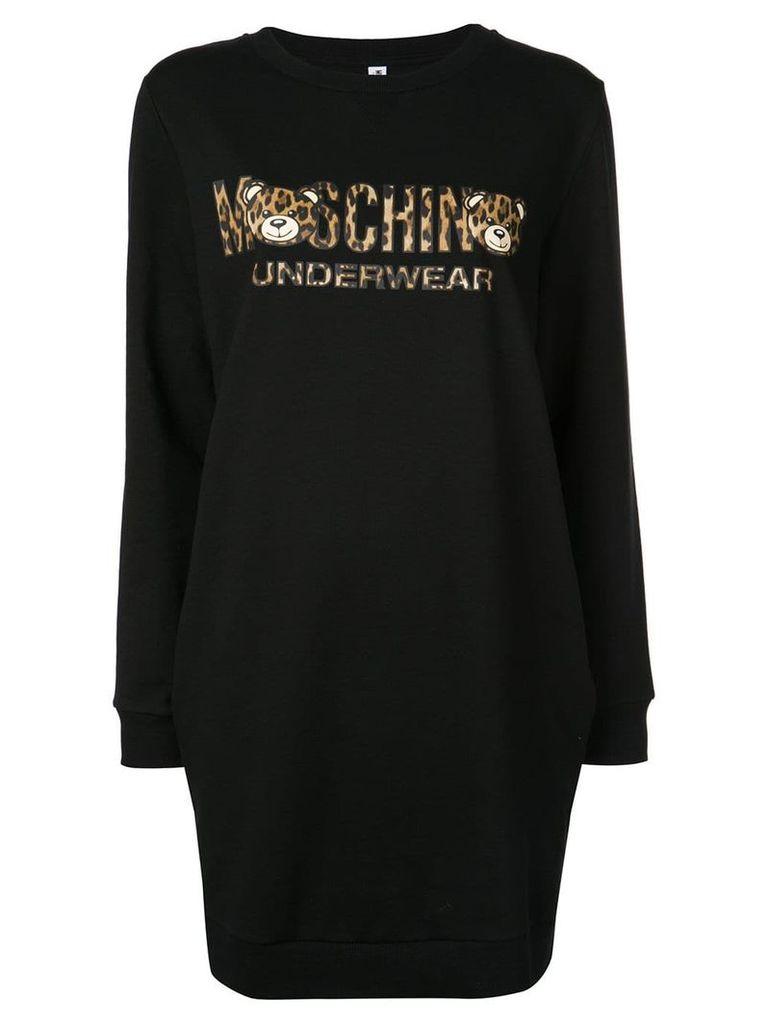 Moschino leopard bear sweatshirt dress - Black