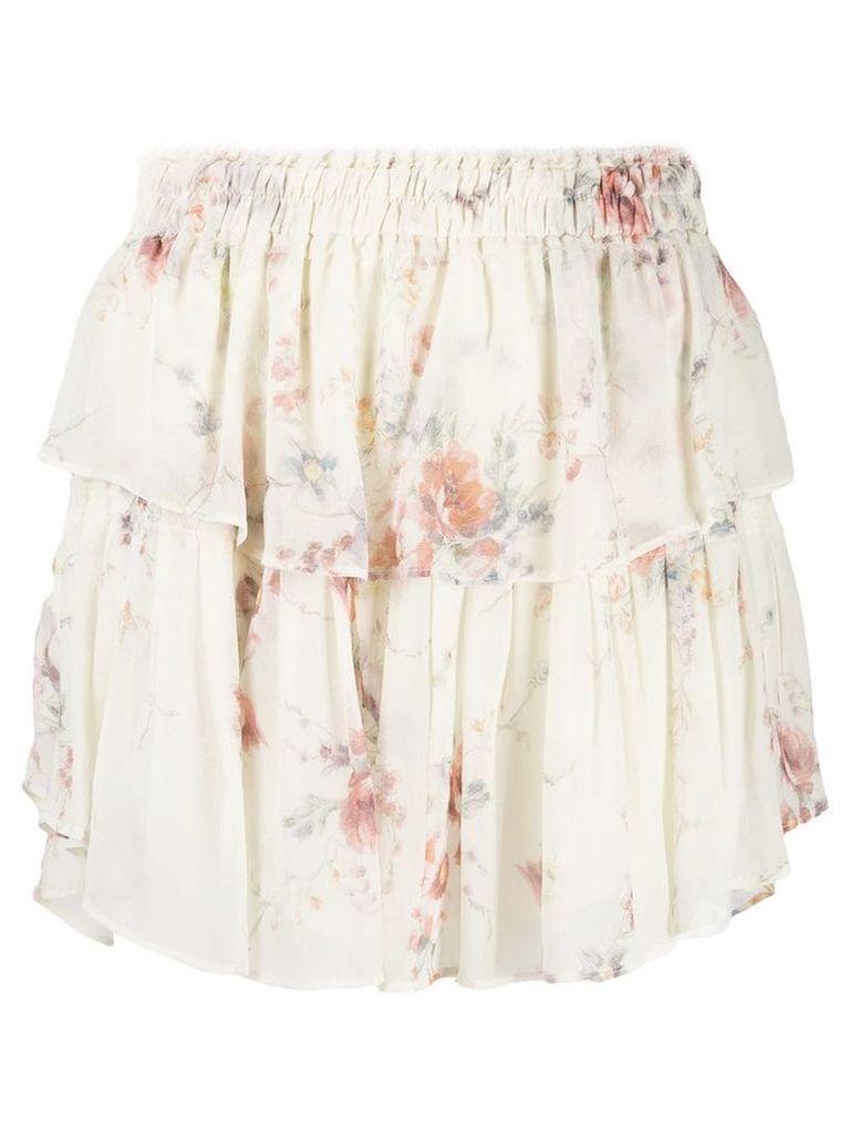 Love Shack Fancy floral ruffle skirt - Neutrals