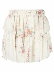 Love Shack Fancy floral ruffle skirt - Neutrals