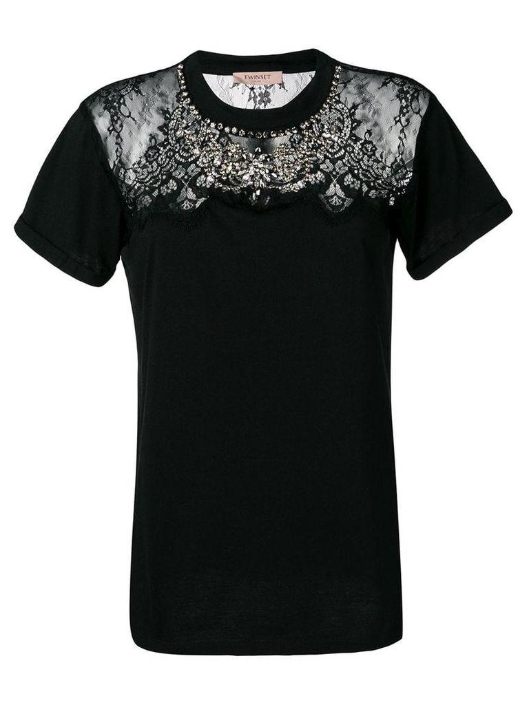 Twin-Set lace-panelled T-shirt - Black