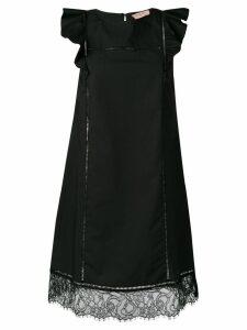 Twin-Set lace trim poplin dress - Black