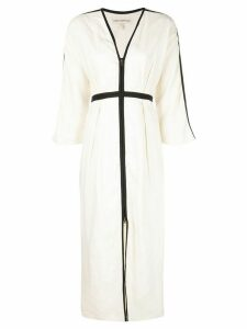 Mara Hoffman contrast piping flared dress - White